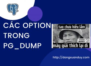 Các option trong pg_dump